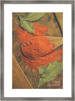 Chilli Powder And Bay Leaves Framed Print by Jorgo Photography - Wall Art Gallery