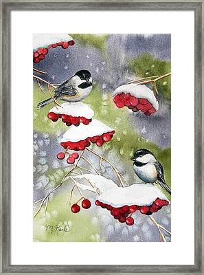 Chilly Chickadees Framed Print
