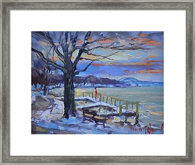 Chilly Sunset In Niagara River Framed Print by Ylli Haruni