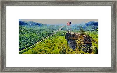 Chimney Rock Nc Framed Print by Elizabeth Coats