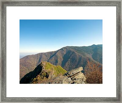 Chimney Tops Vista In Great Smoky Mountain National Park Tennessee Framed Print by Brendan Reals