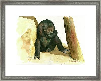 Chimp Framed Print by Juan Bosco