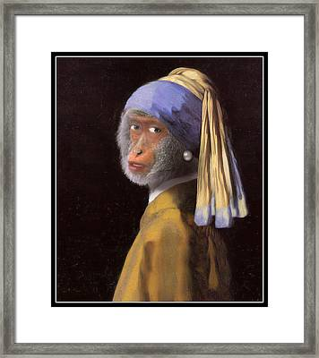 Chimp With A Pearl Earring Framed Print by Gravityx9  Designs