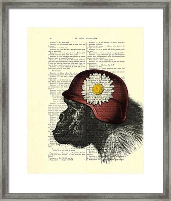 Chimpanzee With Helmet Daisy Flower Dictionary Art Framed Print