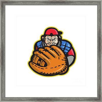 Chimpanzee Baseball Catcher Glove Retro Framed Print