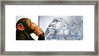 Chimps Don't Draw Framed Print by Nicholas Bockelman