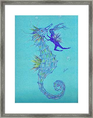 Framed Print featuring the drawing Chin Scratching by Dawn Fairies
