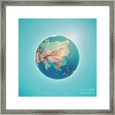 China 3d Render Planet Earth Framed Print by Frank Ramspott