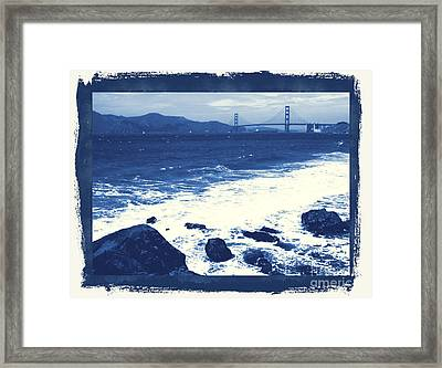 China Beach And Golden Gate Bridge With Blue Tones Framed Print