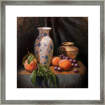 China Brass And Peaches Framed Print by Timothy Jones