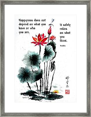 China Garden With Buddha Quote Framed Print