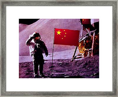 China On The Moon Framed Print by Tray Mead