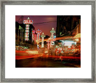 Chinatown In Bangkok Framed Print by Brad Rickerby