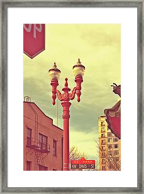 Chinatown Lamp Framed Print by Cathie Tyler