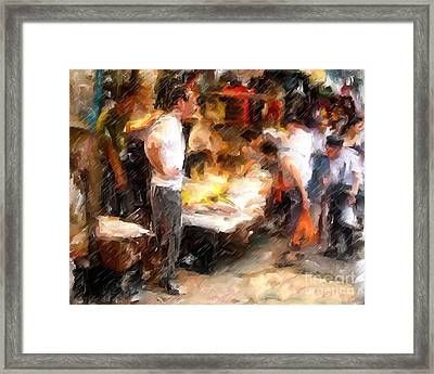 Chinatown Rain Framed Print by Marilyn Sholin