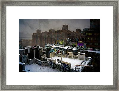 Framed Print featuring the photograph Chinatown Rooftops In Winter by Chris Lord