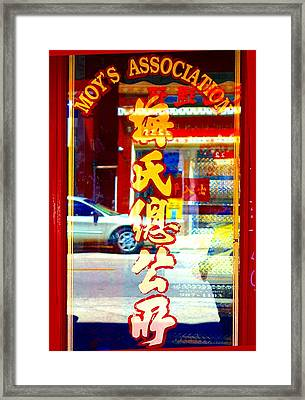 Framed Print featuring the photograph Chinatown Window Reflection 1 by Marianne Dow
