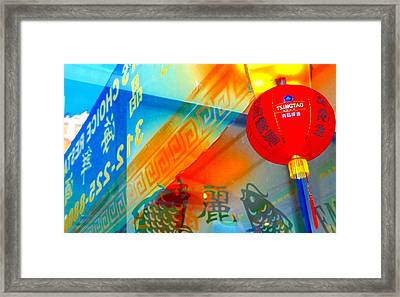 Framed Print featuring the photograph Chinatown Window Reflection 3 by Marianne Dow