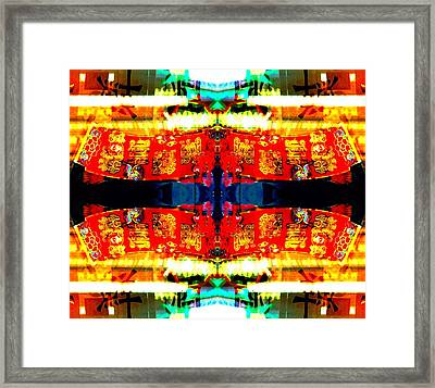 Framed Print featuring the photograph Chinatown Window Reflection 5 by Marianne Dow