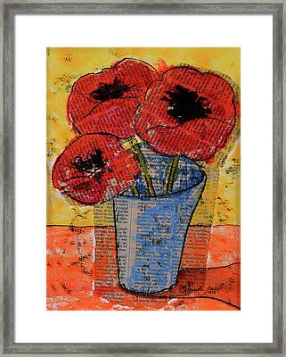 Chine-colle' Poppies Framed Print