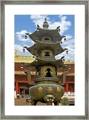 Chinese Ancient Relics - Bronze Cauldron Jing'an Temple Shanghai Framed Print by Christine Till