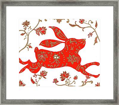Chinese Astrology Rabbit Framed Print