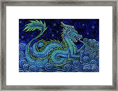 Chinese Azure Dragon Framed Print by Rebecca Wang