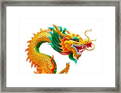 Chinese Beautiful Dragon Isolated On White Background Framed Print by Nichapa Sornprakaysang