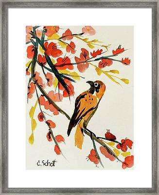 Chinese Bird With Blossoms Framed Print