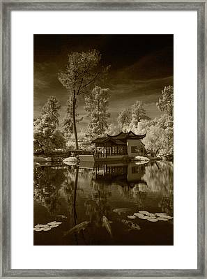 Framed Print featuring the photograph Chinese Botanical Garden In California With Koi Fish In Sepia Tone by Randall Nyhof