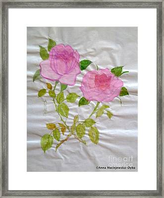 Chinese Brush Painting  Pink Rose Framed Print