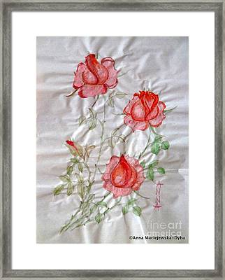 Chinese Brush Painting  Red Rose Framed Print