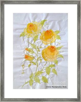 Chinese Brush Painting Yellow Rose Framed Print