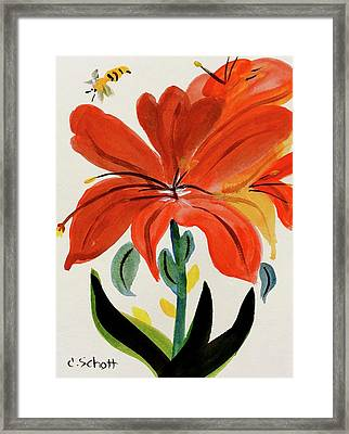 Chinese Brush Work Bee And Flower Framed Print