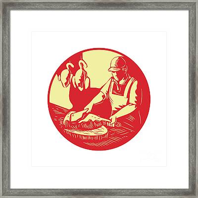Chinese Cook Chop Meat Oval Circle Woodcut Framed Print by Aloysius Patrimonio