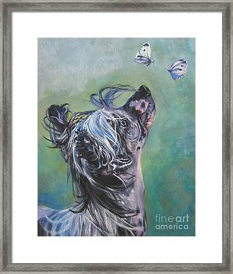 Chinese Crested With Butterflies Framed Print by Lee Ann Shepard