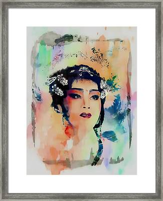 Chinese Cultural Girl - Digital Watercolor  Framed Print