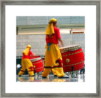 Chinese Drummers At Work Framed Print by Yali Shi