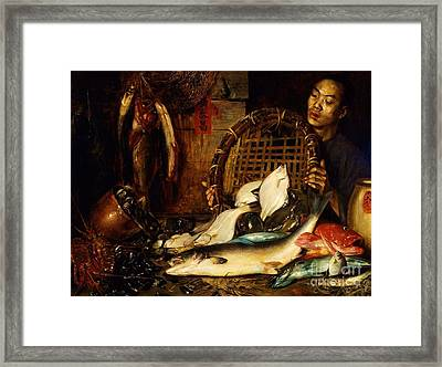 Chinese Fishmonger Framed Print by Pg Reproductions