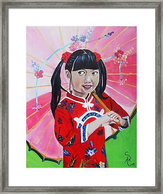 Chinese Girl Framed Print by Andrea Realpe
