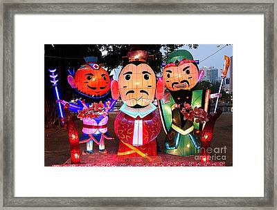 Framed Print featuring the photograph Chinese Lanterns In The Shape Of Three Wise Men by Yali Shi