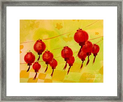 Framed Print featuring the painting Chinese Lanterns by Maria Langgle