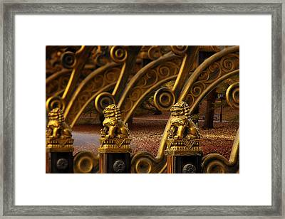 Chinese Lions - Luck Prosperity Power Grandeur Framed Print by Christine Till