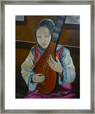 Chinese Lute Player Framed Print by Barbi Vandewalle