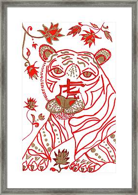 Framed Print featuring the drawing Chinese New Year Astrology Tiger by Barbara Giordano