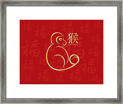 Chinese New Year Monkey On Red Background Illustration Framed Print