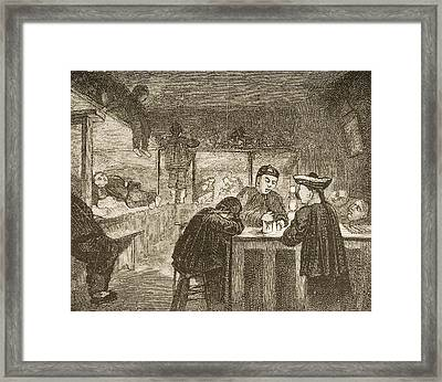 Chinese Opium Den In San Francisco Framed Print