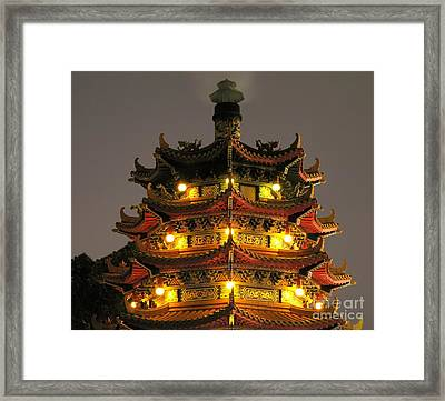 Chinese Pagoda By Night Framed Print by Yali Shi