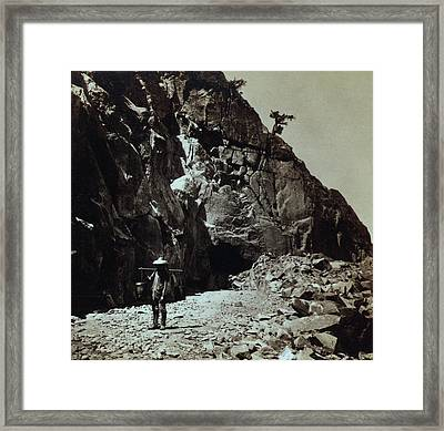 Chinese Railroad Worker Wearing Framed Print by Everett