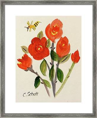 Chinese Red Rose With Bee Framed Print
